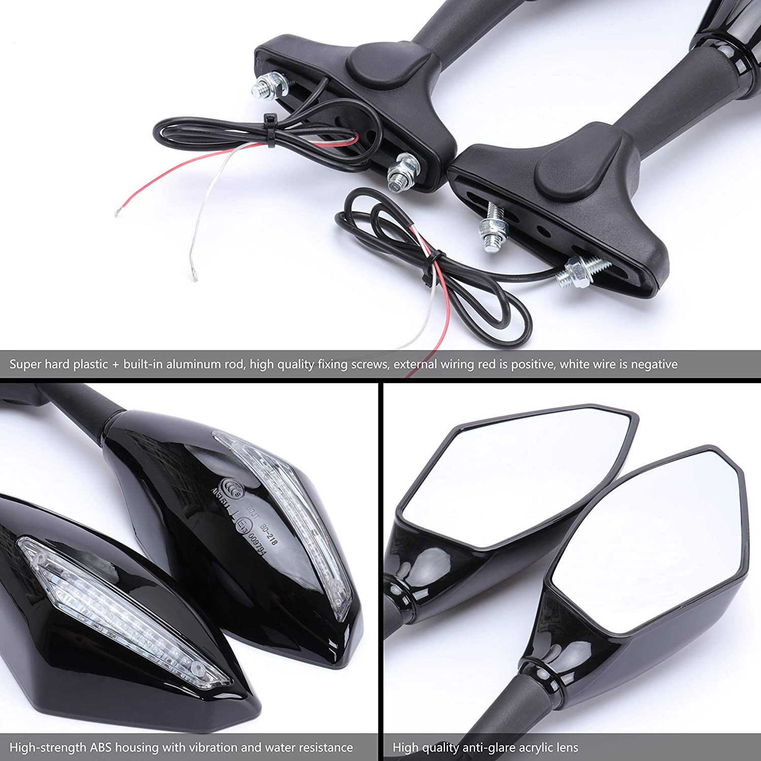 Alpha Rider Motorcycle Turn Signal LED Blinker Integrated Sports Racing Mirrors Rearview Side Mirror For Honda CBR600 F1//F2//F3//F4//F4i CBR600RR 1987-2010