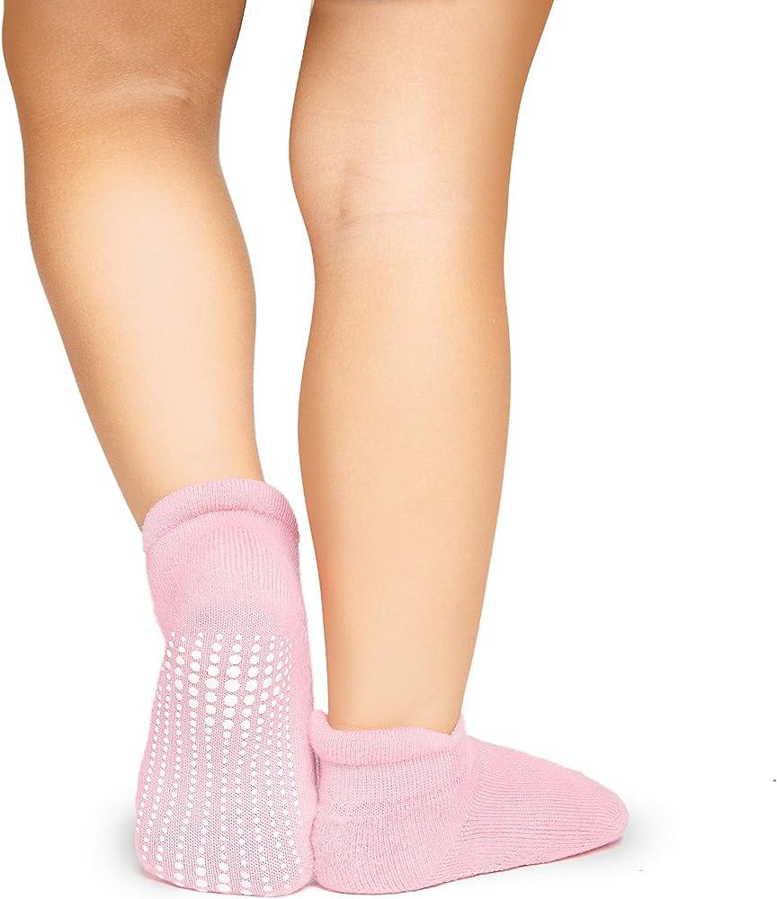 UK 3 Pairs Baby Gripper Socks Anti Non Slip Indoor Walking Toddler Grip Boy Girl