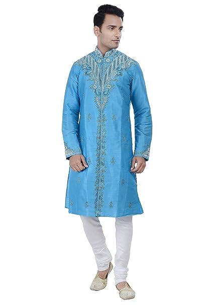 Amazon.com: Indian Diseño Azul Kurta Sherwani para hombre ...