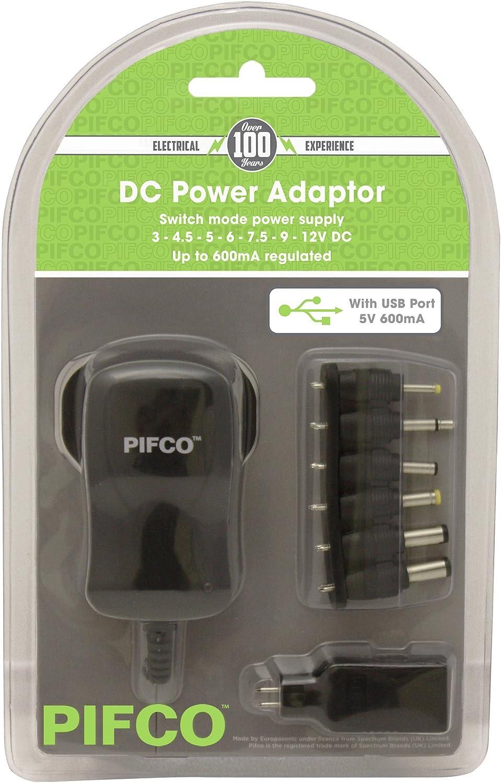 Pifco ela1133600mAh AC/DC Connect-it Adaptador de alimentación–Negro