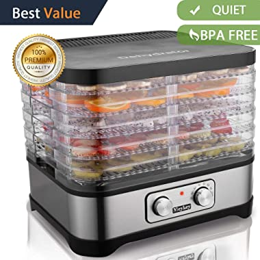 Food Dehydrator Machine, Jerky Dehydrators with Five Tray, Knob Button