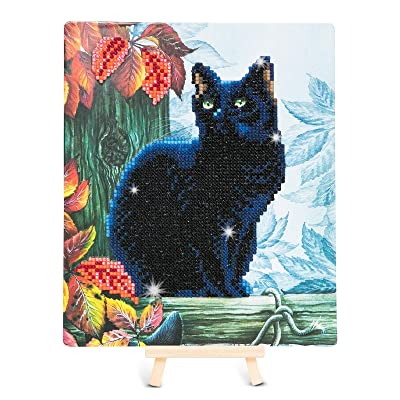 Crystal Art Kit Framed Cat in Autumn Small D.I.Y. 5D Diamond Art Craft Gallery Collection, Complete with Wooden Display Easel, 21x25 cm (8.3 X 9.8): Toys & Games