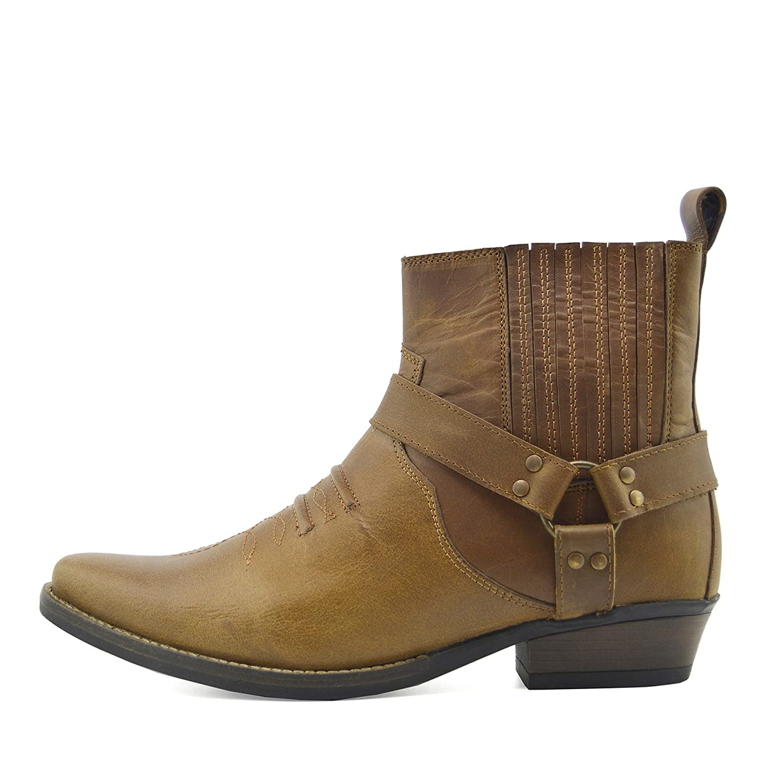 Mens Cowboy Leather Ankle Boots Biker Boots 41 EU|Tan KK4