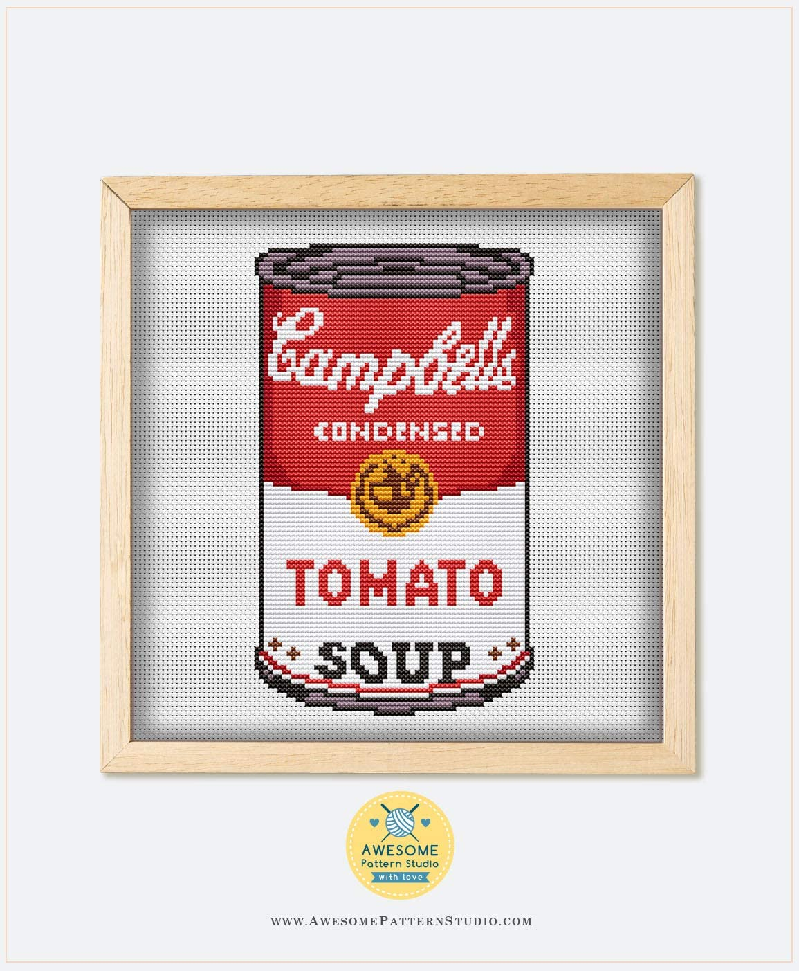 Stitch Design Stitching Cross Stitch Designs Embroidery Kits Campbell Tomato Soup #K494 Embroidery Cross Stitch Kit Cross Designs