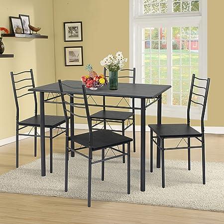 VS Venta-stock Conjunto Mesa y 4 sillas Comedor Lima Negro/Gris, Mesa 110 cm x 70 cm x 76 cm, Estructura metálica