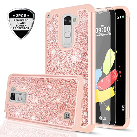 brand new 9c352 844f0 LeYi LG Stylo 2 / Stylo 2 Plus/Stylo 2V / Stylus 2 Glitte Case with  Tempered Glass Screen Protector [2 Pack] for Women Girls, Heavy Duty  Shockproof ...