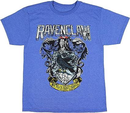 Harry Potter Ravenclaw Crest Distressed Hogwarts Logo Blue Mens T-shirt