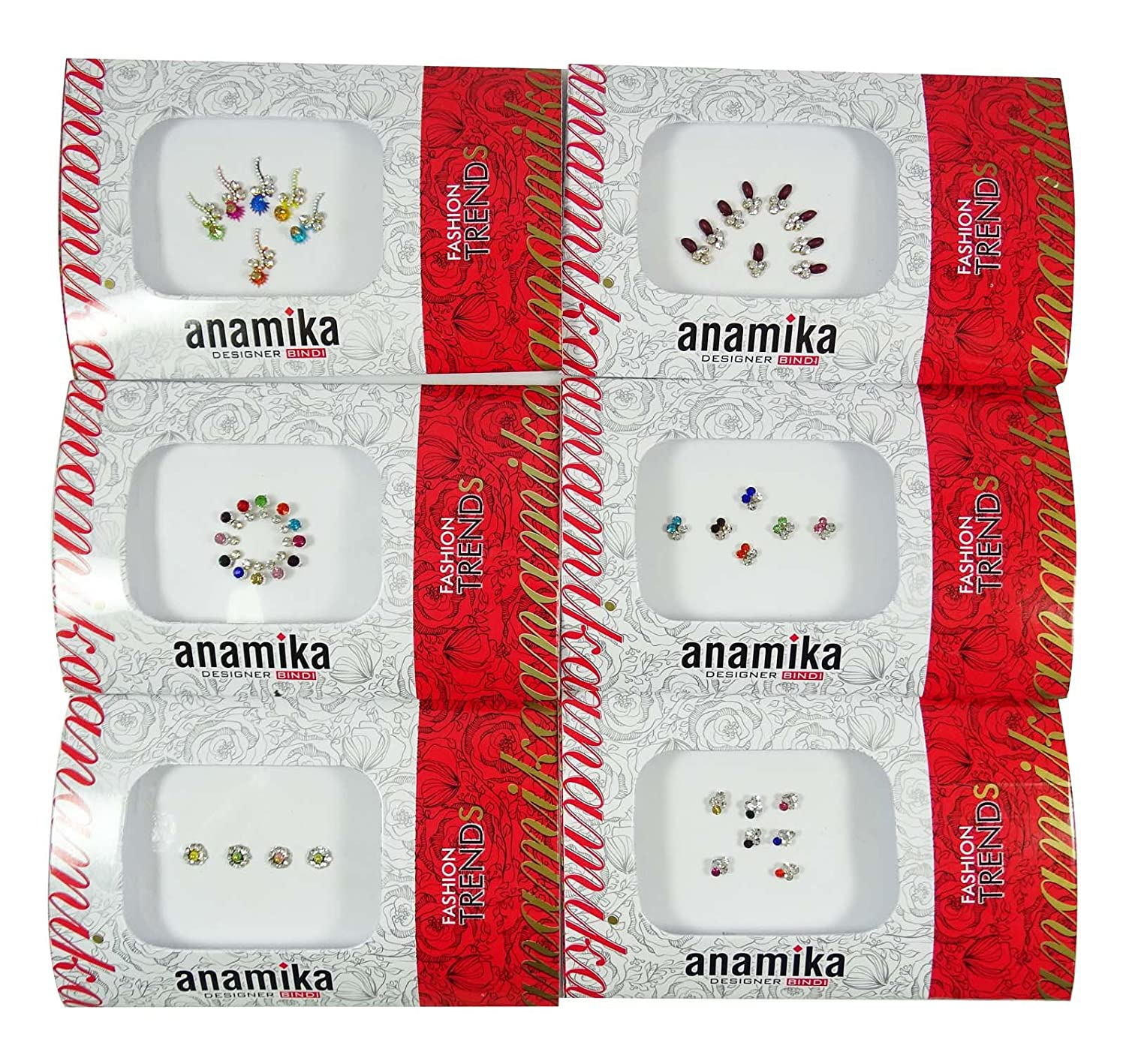 Traditional Bollywood Multicolor Pack Of 6 Self Adhesive Wedding Bridal Bindis Ibacrafts