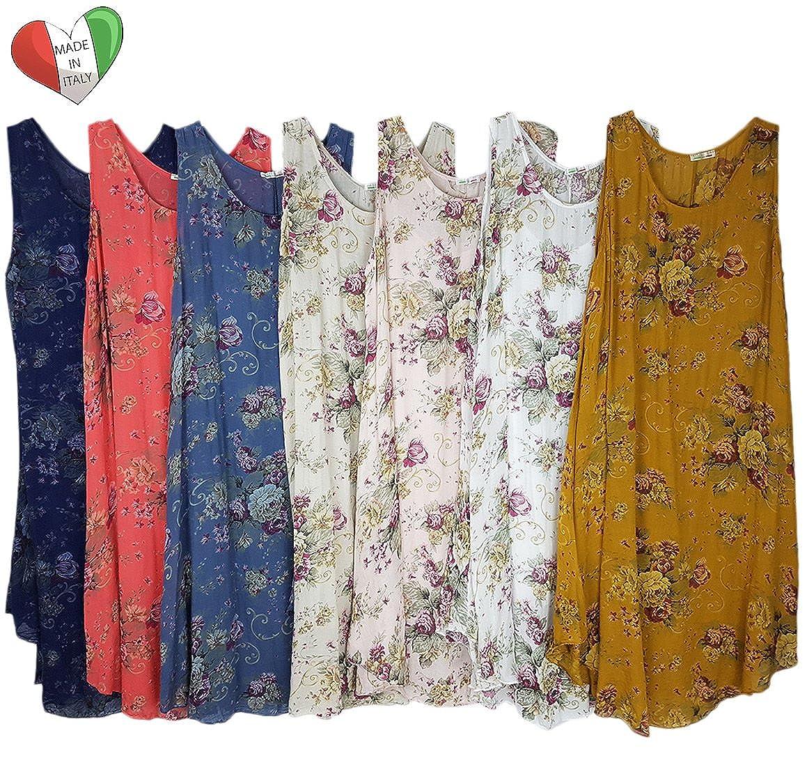 9ac25488c7b Wolfairy Womens Plus Size Dress Tunic Italian Lagenlook Summer Floral Linen  Vintage Asymmetric Beige 24  Amazon.co.uk  Clothing