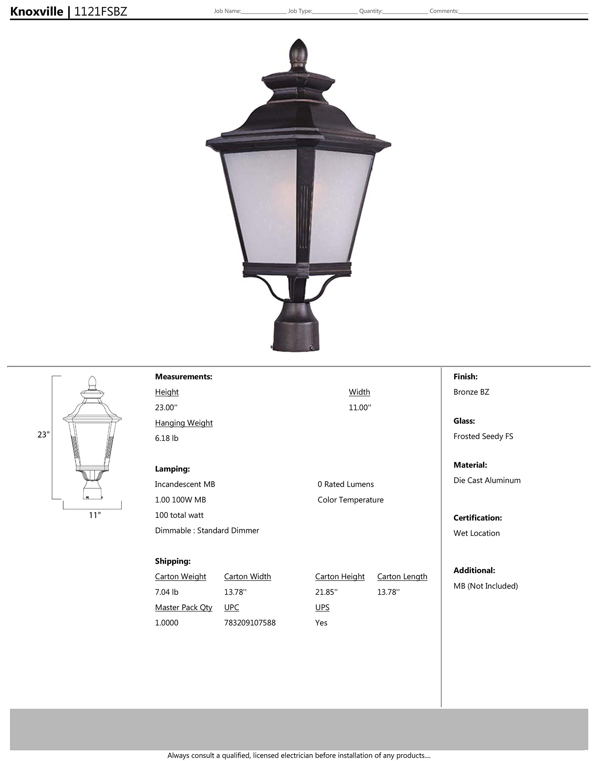 Maxim 1121FSBZ Knoxville 1-Light Outdoor Pole/Post Lantern, Bronze Finish, Frosted Seedy Glass, MB Incandescent Incandescent Bulb , 3W Max., Dry Safety Rating, 3000K Color Temp, Standard Triac/Lutron or Leviton Dimmable, Shade Material, 840 Rated Lumens by Maxim Lighting (Image #2)