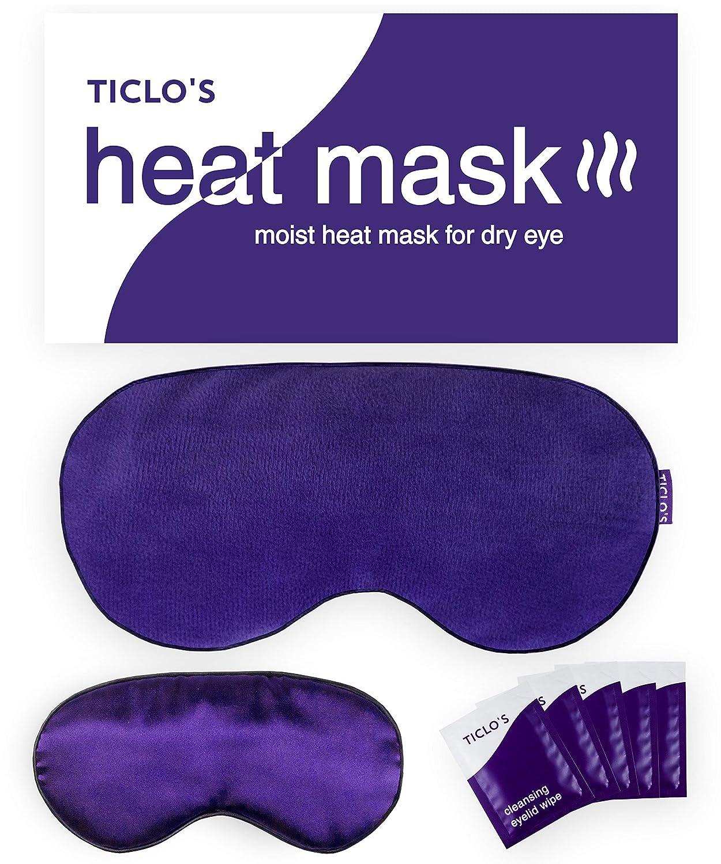 TICLO'S Heated Eye Compress Mask - Warm Moisturizing Hot Steam Eye Mask Pad For Dry Eyes, Blepharitis, Styes, Meibomian Gland Dysfunction, Chalazion Treatment - BONUS SLEEP MASK & EYELID SCRUB WIPES