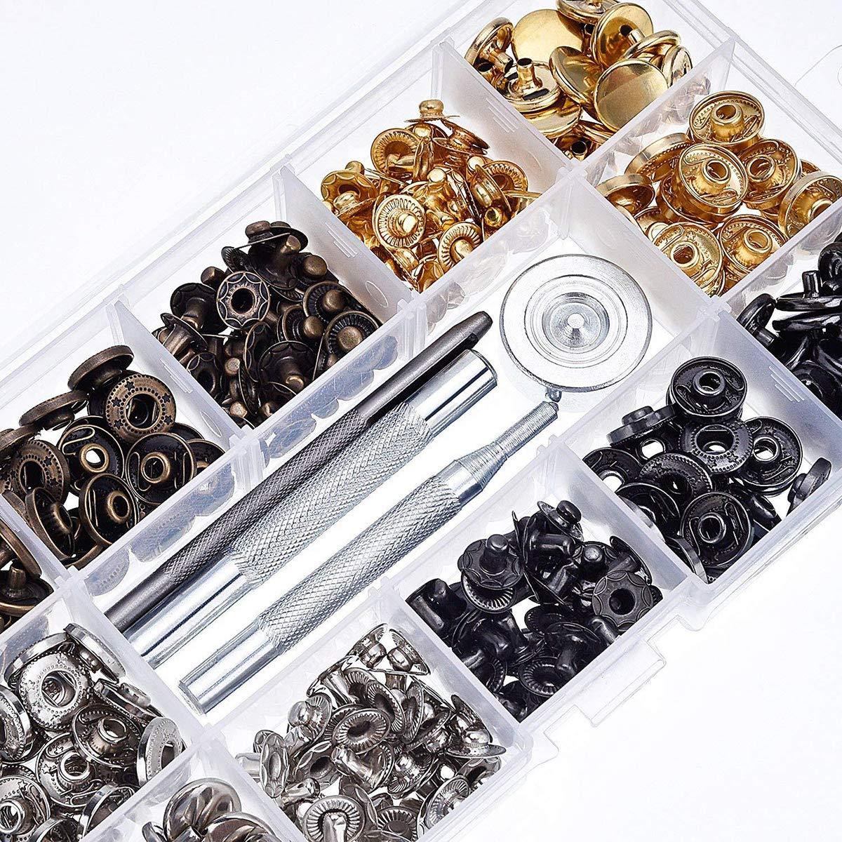 Artigianato Fai da Te Bottone a Pressione in Metallo da Cucire 100 Set di 4 Colori Dricar con 4 Strumenti di Fissaggio per Jeans Pelle 12,5 mm Bottoni a Pressione Tessuto in Metallo