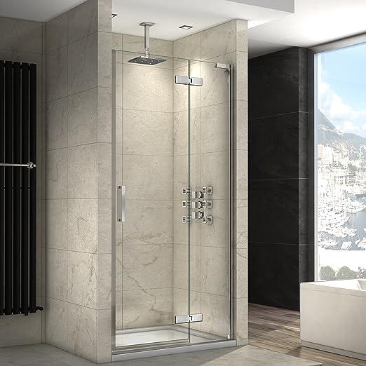 1100 x 800 mm fácil de limpiar de articulación de lujo cristal ducha puerta nicho almacenaje + bandeja Set: iBath: Amazon.es: Hogar