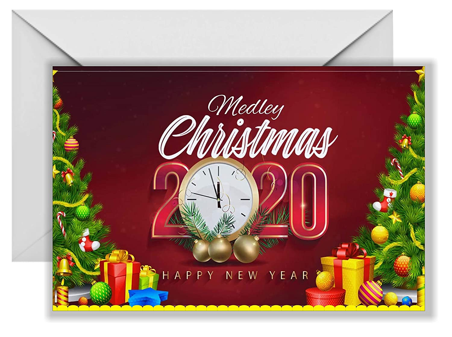 Merry Christmas Happy New Year 2020 Gift Card Happy Christmas Card Happy New Year 2020 Multicolour Card Festival Card Best Happy New Year Greeting Card Amazon In Home Kitchen