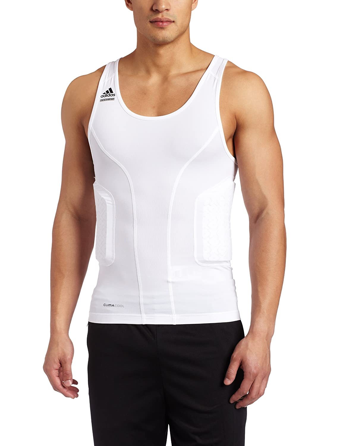 24c7f53f80 Amazon.com: adidas Men's Techfit Padded Compression Tank (White, X-Large):  Sports & Outdoors