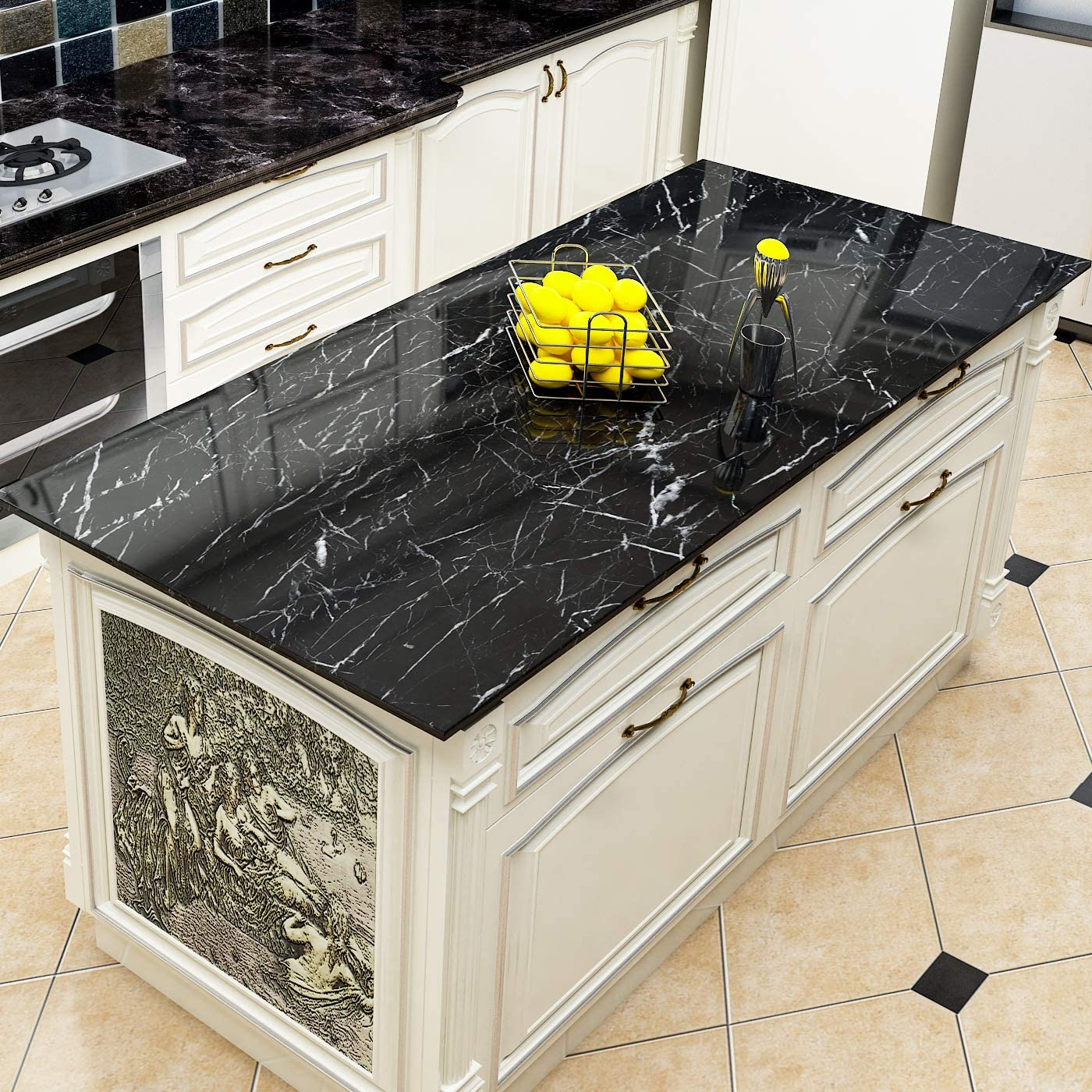 Yenhome Jazz Black Faux Marble Countertops Peel And Stick 24 X 196 Inch Removable Wallpaper For Kitchen Backsplash Peel And Stick Wallpaper Cabinets Shelf And Drawer Liner Self Adhesive Vinyl Film Amazon Co Uk