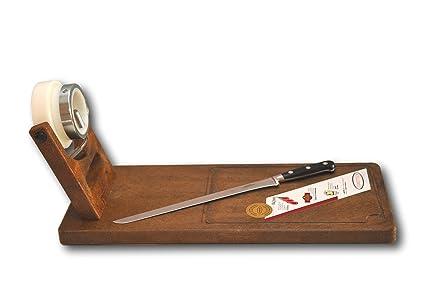 Jamonero giratorio Jamotec JP y cuchillo jamonero profesional de 30 cm