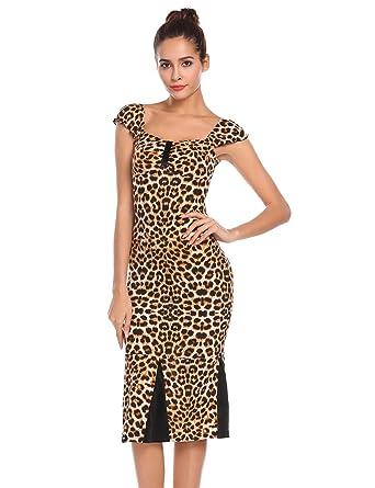 Zeela Damen Retro Vintage Kleid Leopard Etuikleid Patchwork ...