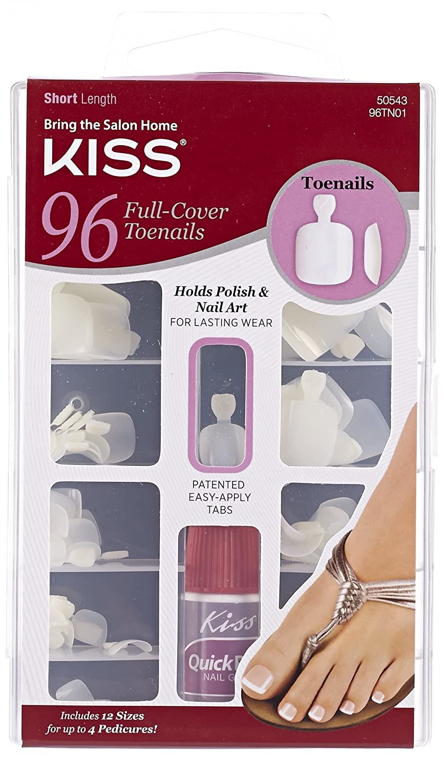 Amazon.com : Kiss Products 96 Full Cover Toenails, 0.2 Pound : False ...
