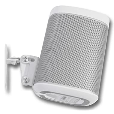 SONOS PLAY 1 Wall Mount, (NOT Compatible with SONOS ONE) Adjustable Swivel & Tilt Mechanism, Single Bracket For Play:1 Speaker with Mounting Accessories, White, Designed In the UK by Soundbass