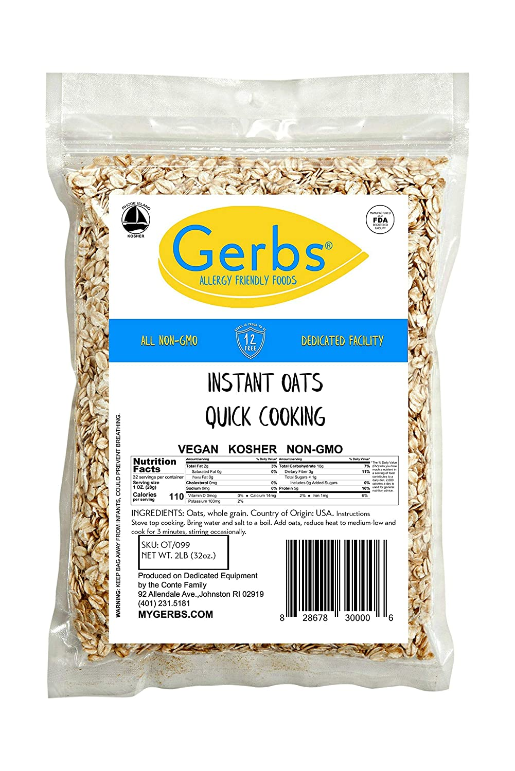 GERBS Instant Oats, 32 ounce Bag, Top 14 Food Allergy Free, Non GMO, Pesticide Free, Keto, Paleo Friendly
