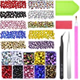 Jovitec 5000 Pieces Hotfix Flatback Rhinestones Mixed Color Iron on Glue Glass in 5 Sizes 2-6.5 MM (SS6-SS30) Gemstones AB Crystals with Tweezers and Picking Rhinestones Tool for DIY and Craft