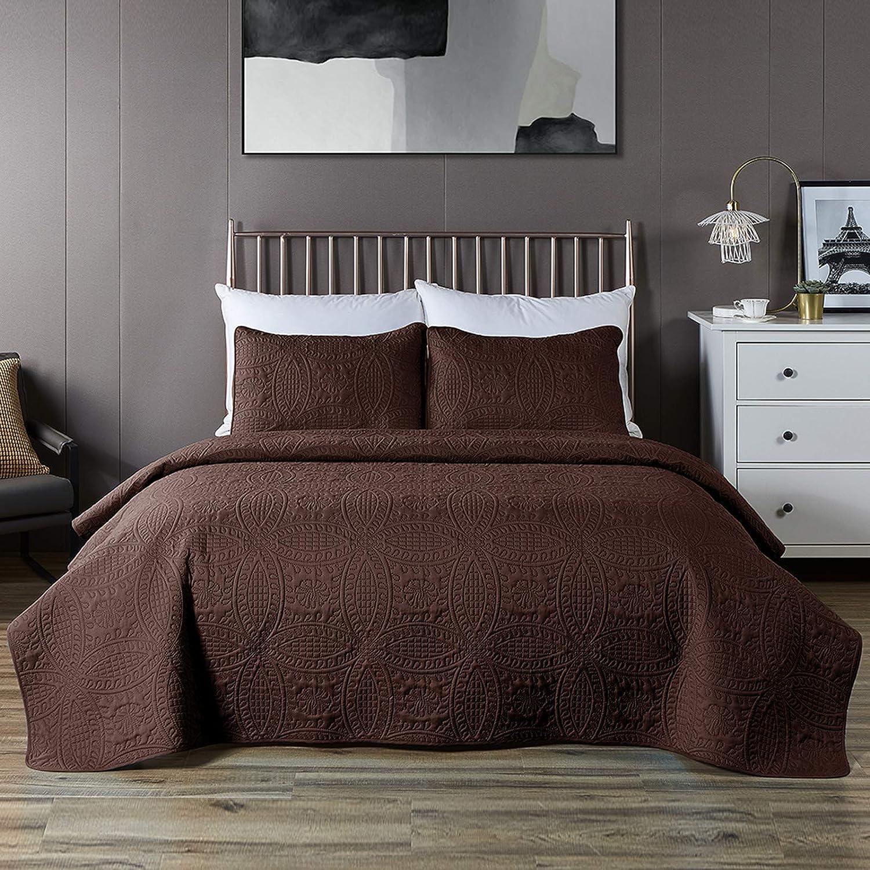 COISINI Bedspread Coverlet Set Chocolate - Comforter Bedding Cover - Oversized 3-Piece Quilt Set (Full/Queen, Chocolate)