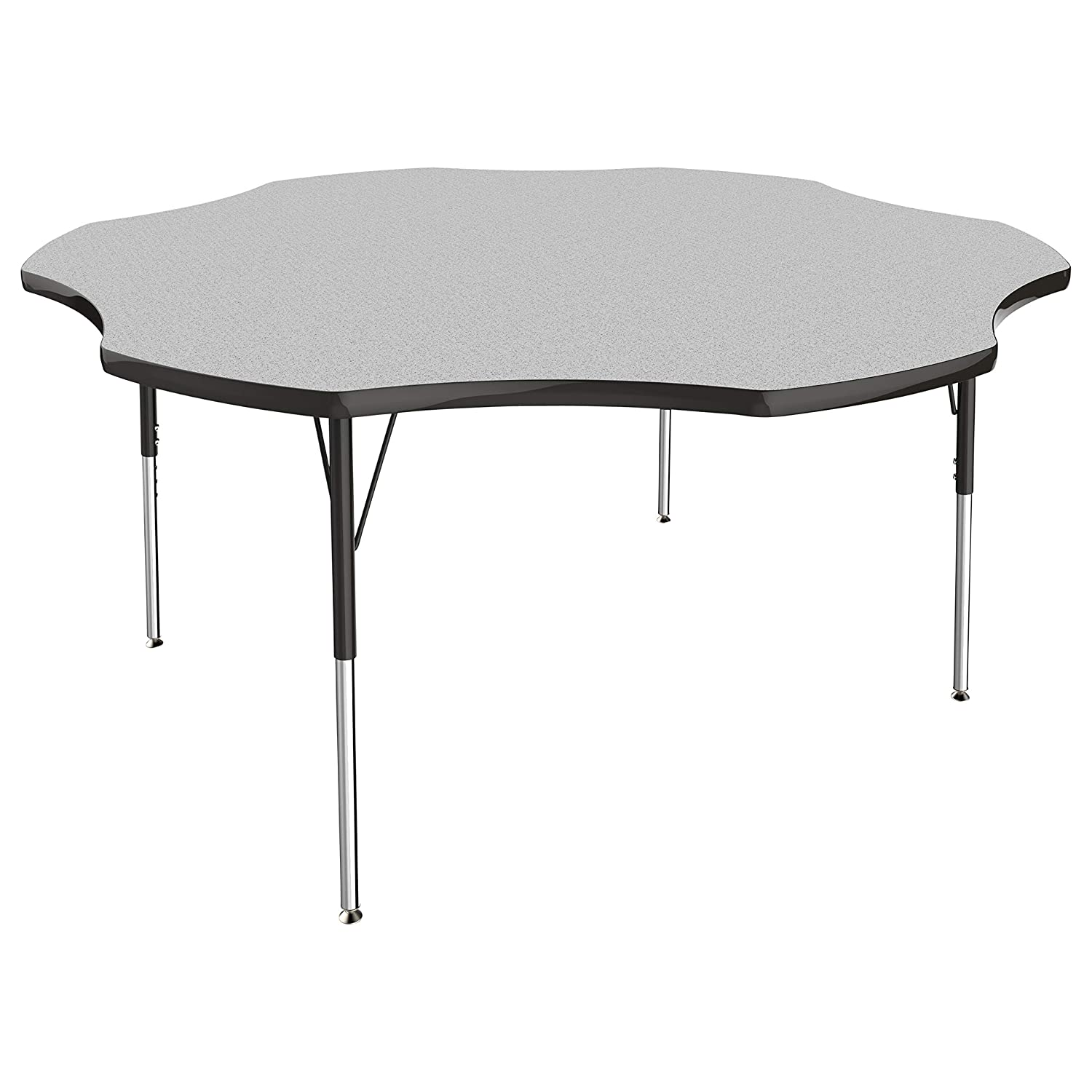 FDP Flower Activity School and Office Table (60 inch), Standard Legs with Swivel Glides for Collaborative Seating Environments, Adjustable Height 19-30 inches - Gray Top and Black Edge