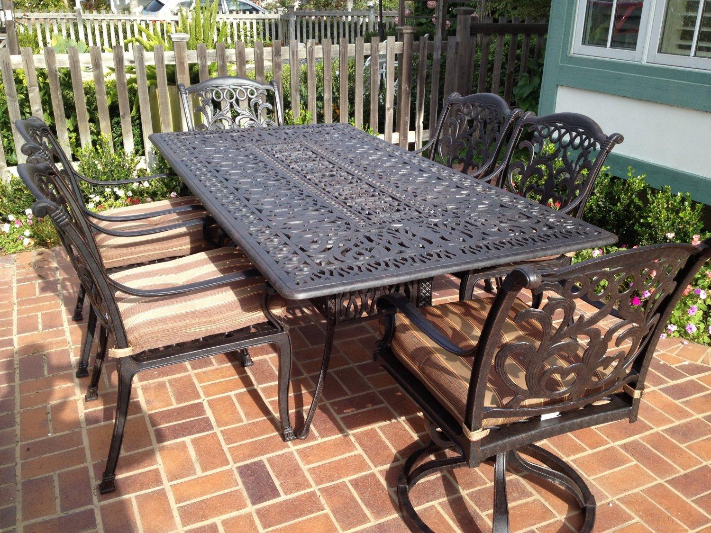 Theworldofpatio Mandalay Cast Aluminum Powder Coated 7pc Outdoor Patio Dining Set with 44 x84 Rectangle Table – Antique Bronze