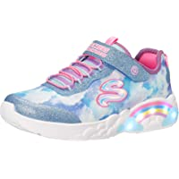 Skechers Girl's Rainbow Racer Sneaker, Blue Mesh/Trim