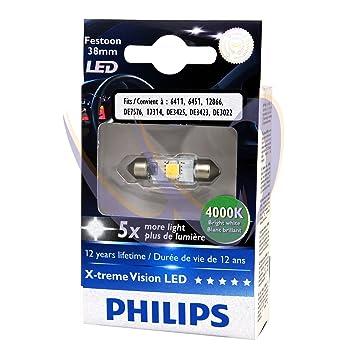 Philips 12858 x-treme Vision LED 4000 K 12 V Blanco feestoon C5 W interior