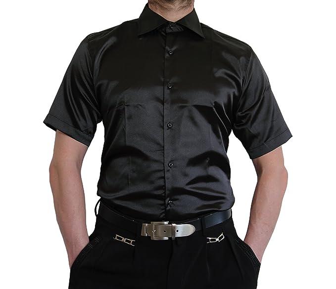 256be82d2374 stahl-moden Herren Designer Glanzhemd Kurzarm Hemd bügelleicht Satin Farben  New Kent Kragen kurz arm Gr. M-3XL  Amazon.de  Bekleidung
