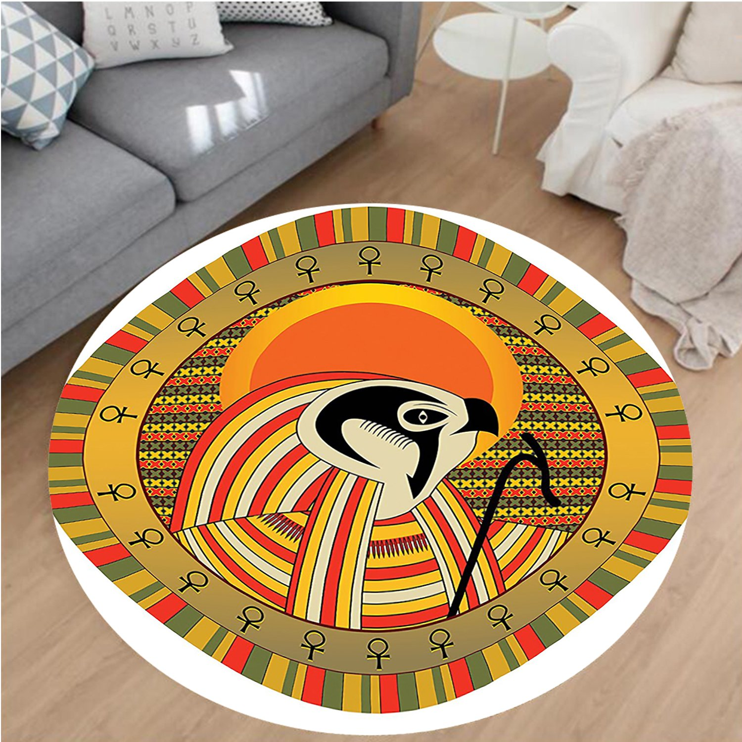 Nalahome Modern Flannel Microfiber Non-Slip Machine Washable Round Area Rug-ration of Ancient Egyptian God Sun Ra in Colored Design Spirit Animal Culture Print Multi area rugs Home Decor-Round 67''
