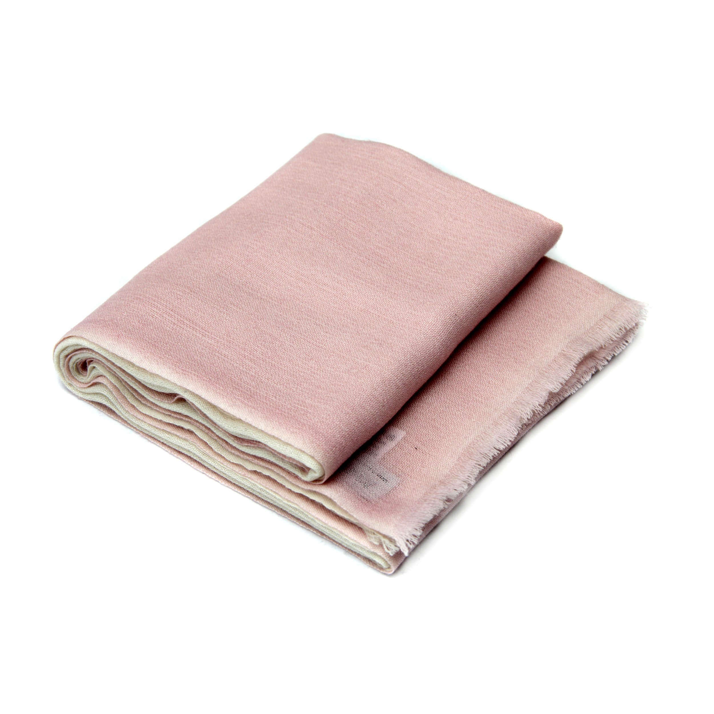100% Cashmere Ombre Stole, (60/2 Mongolian Yarn Composition) Pink and Beige Ombre Lightweight Stole © Moksha Cashmere