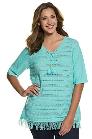 2644e12f6a8 Ulla Popken Women s Plus Size Tassel Fringe Detailed Short Sleeve Cotton  Sweater. 710277 at Amazon Women s Clothing store