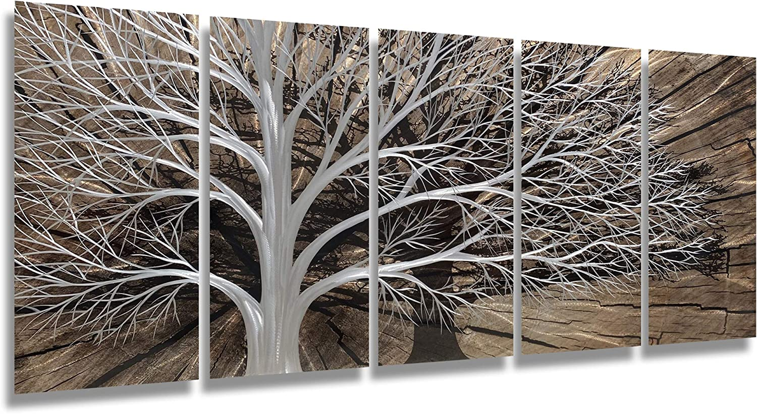 Brilliant Arts Handcrafted Silver Tree Metal Scuplture Black Shadow 3D Hanging Wall Art 5-panels Contemporary Decor for Office