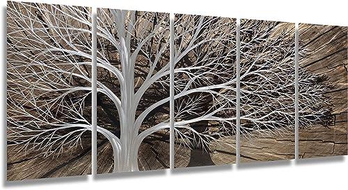 Brilliant Arts Extra Large 3D Silver Tree Metal Art Handmade Black Show Wall Decor Modern Home Accent Artwork