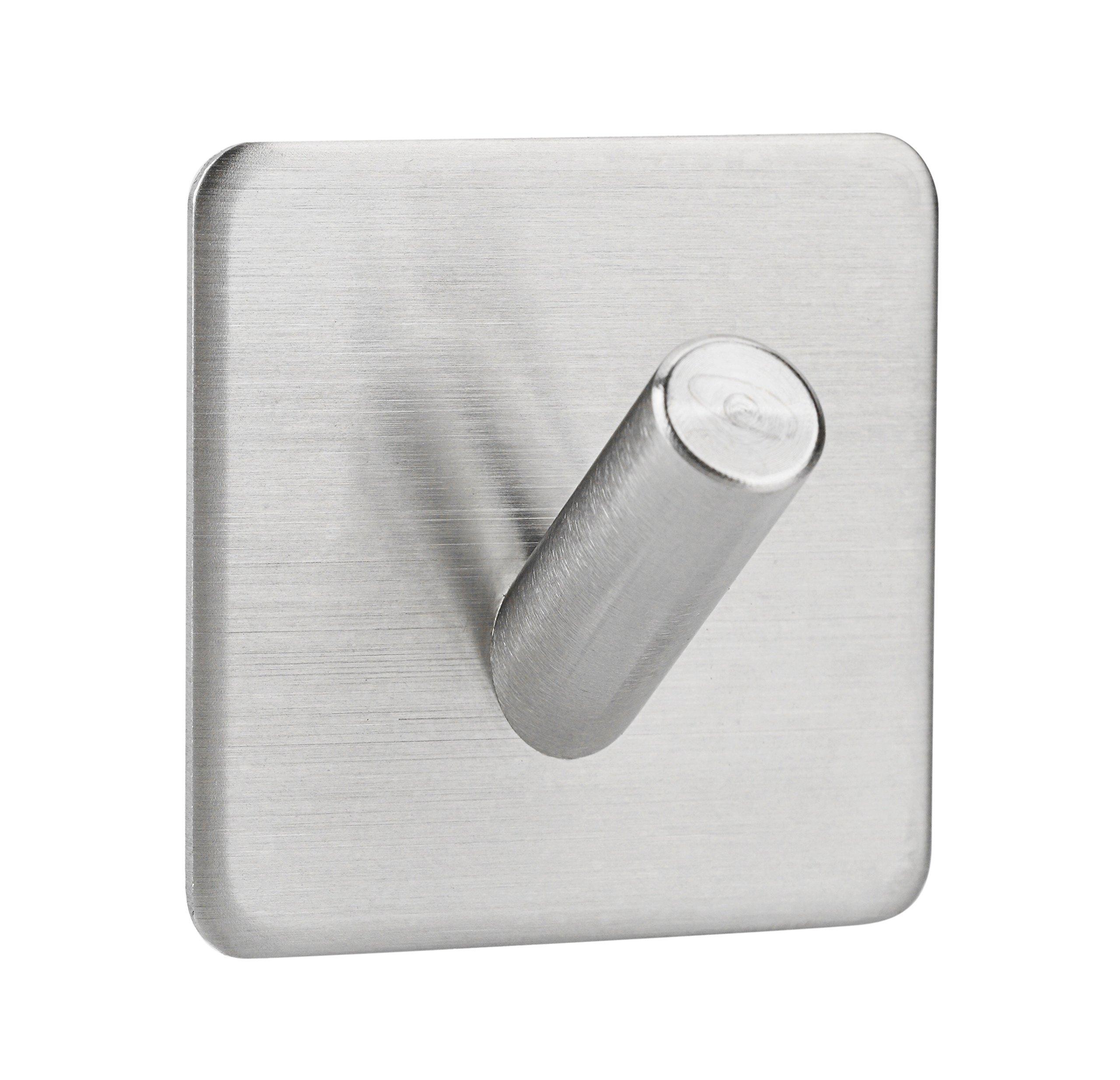 CP 304 Stainless Steel 3M Self Adhesive Hook Key Rack Garage Storage Organizer Bathroom Kitchen Towel Hanger Wall Mount, No drill required (1)