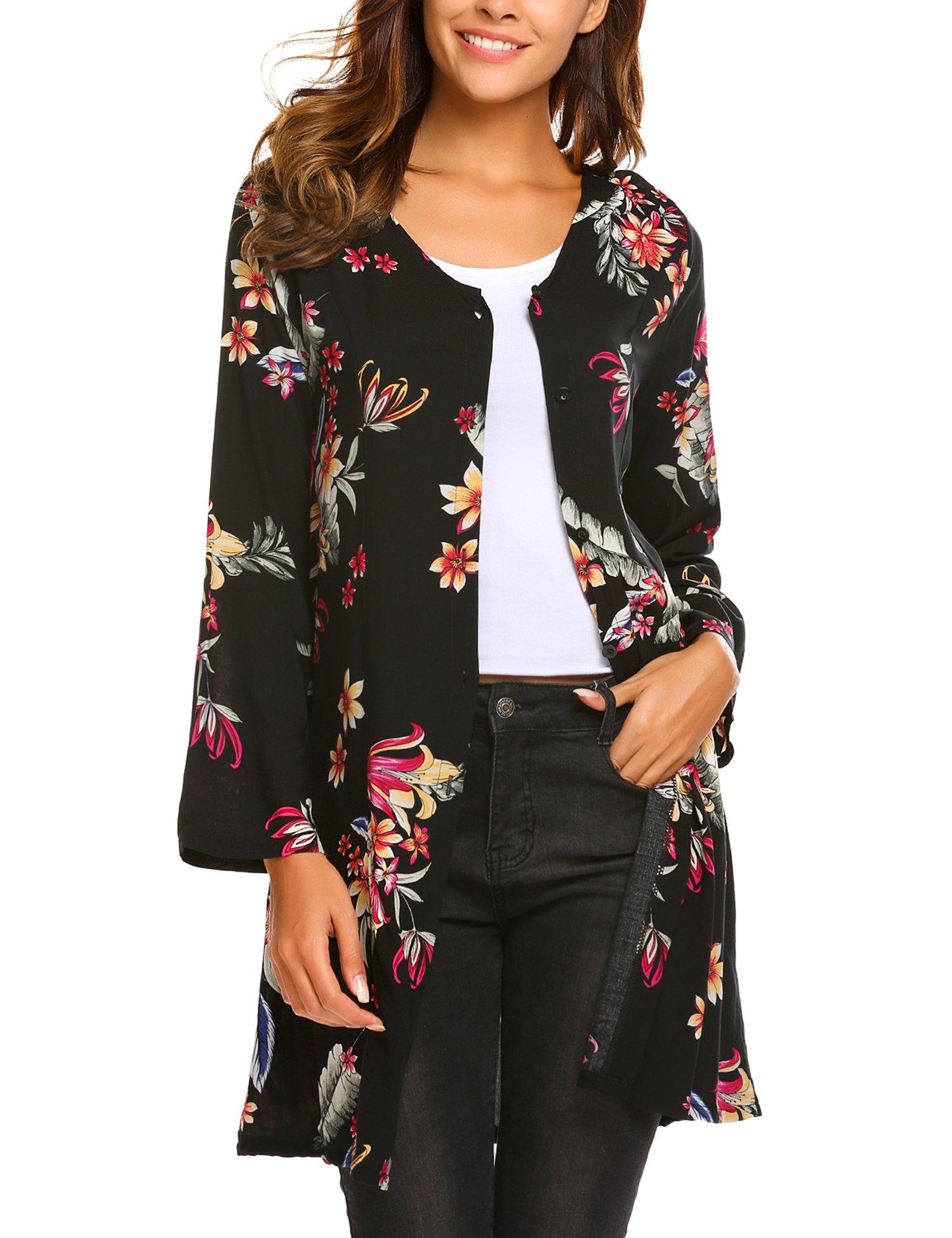 Beyove Women's Floral Pattern Long Sleeve Loose Fit Tunic Dress, X-Large, A Pat2