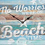 No Worries We're on Beach Time Blue Seashell Distressed 14 x 14 Wood Wall Clock Sign