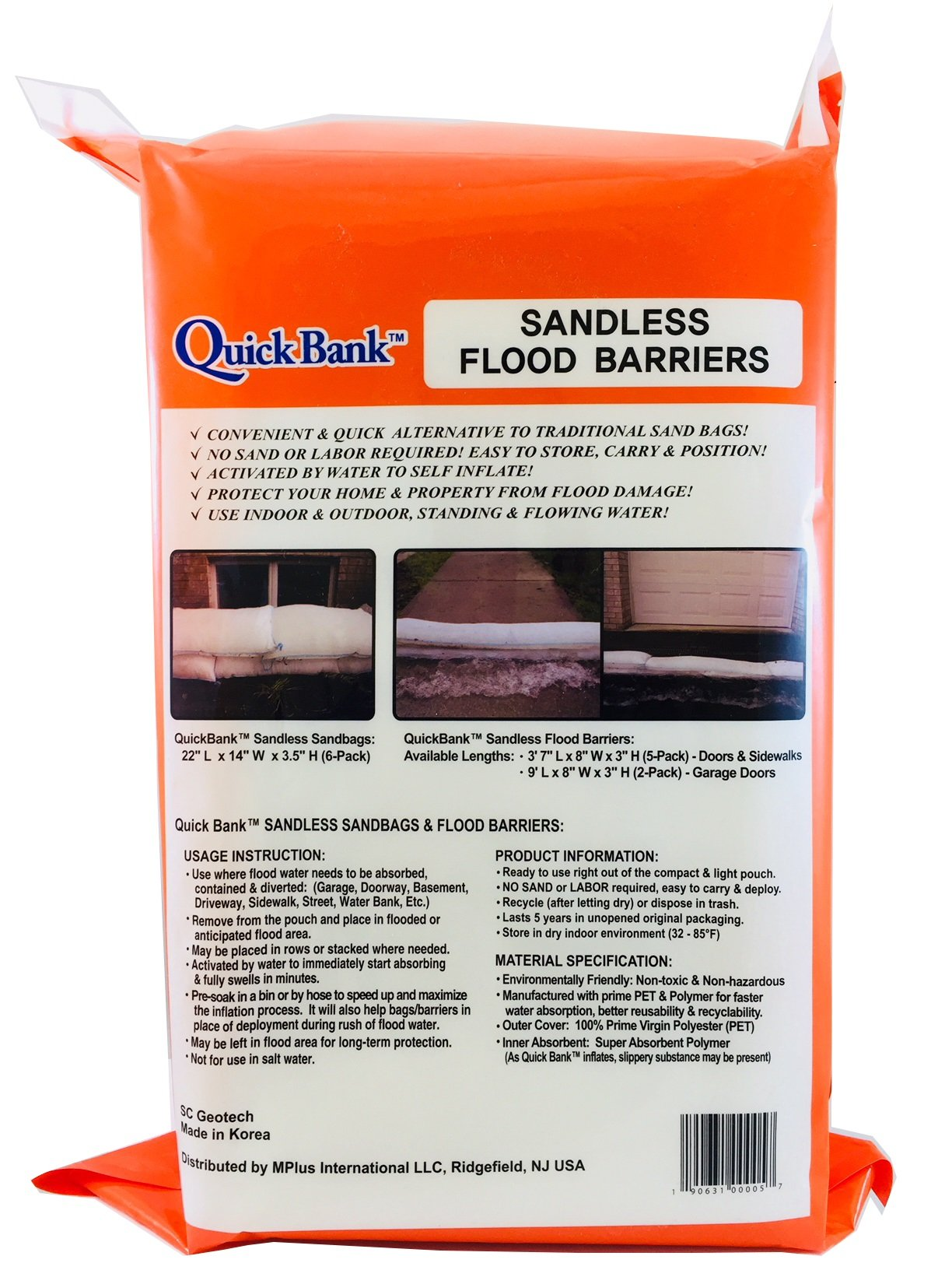 Sandless Flood Barrier - High Capacity, 44 Inch Length, 5-Pack