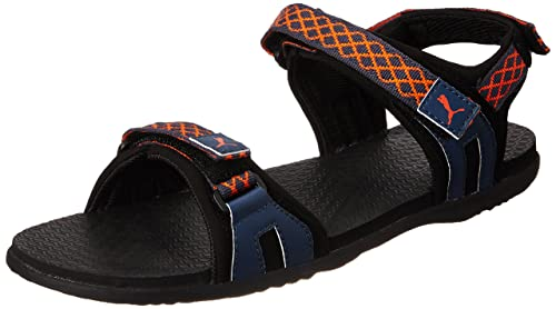 63c6ad2f3211 Puma Men s Lyra IDP Black-Blue Wing Teal Athletic and Outdoor Sandals - 11  UK