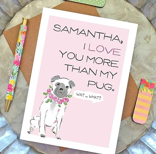 Amazon I Love You More Than My Pug Card