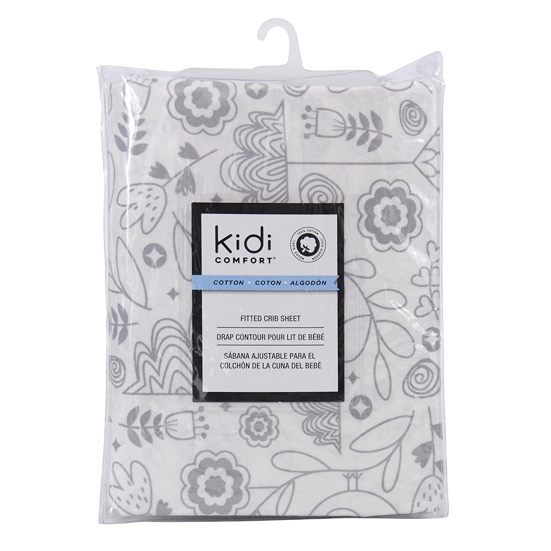 Kidiway 3042 kidicomfort Fitted crib sheet - 100 % Cotton - Grey Bird
