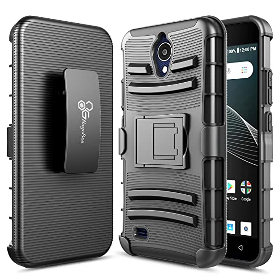 AT&T AXIA Case (QS5509A), Cricket Vision Case, NageBee Belt Clip Holster  Defender Heavy Duty Shockproof Kickstand Combo Rugged Armor Durable