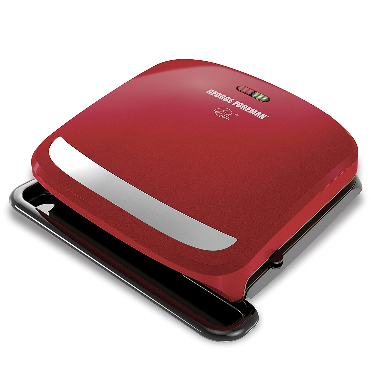 George Foreman 4-Serving Removable Plate Grill and Panini Press, Red, GRP360R