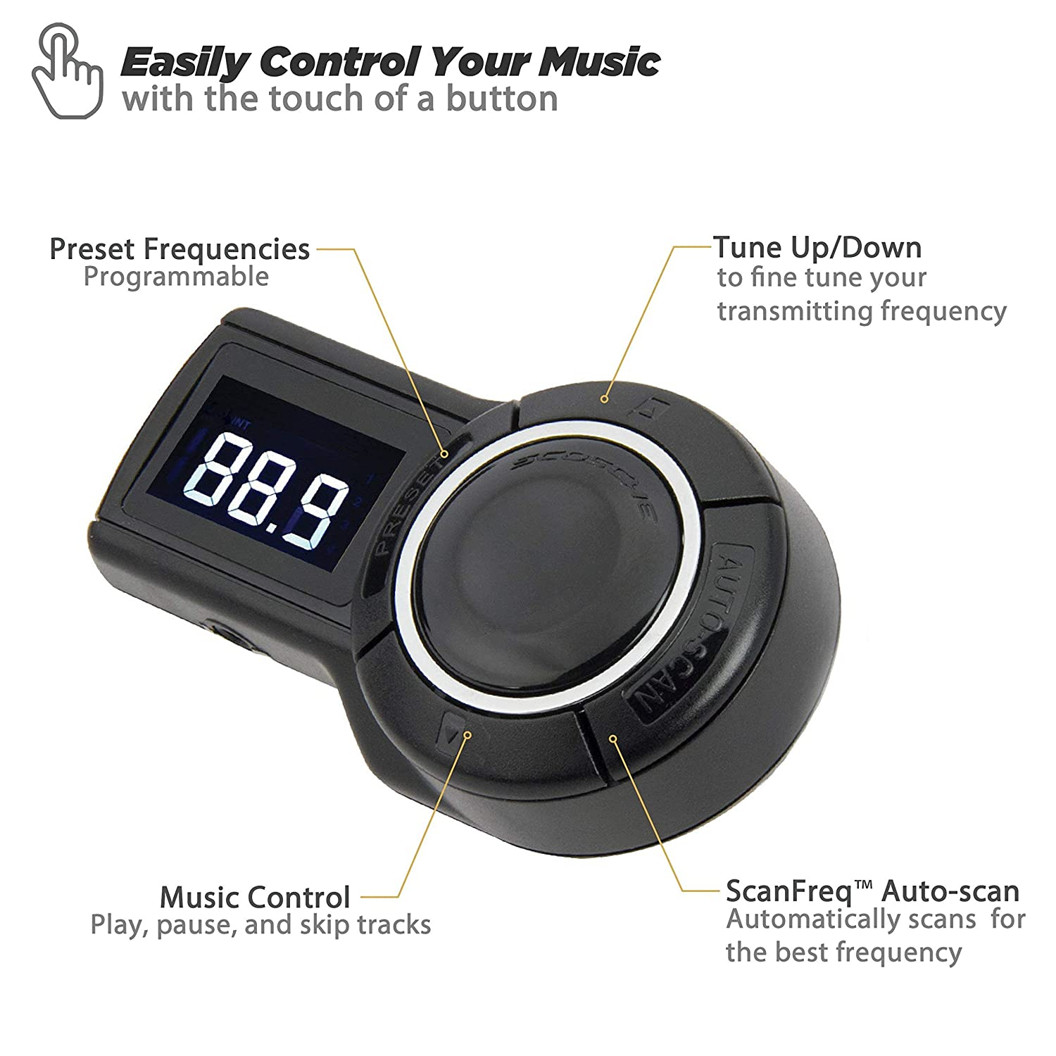 SCOSCHE FMTD9R FreqOut Pro Universal Digital FM Transmitter with Built-In USB Charge Port and Integrated Music Controls for Phones Renewed iPods and More MP3 Players Black