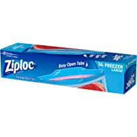 Ziploc Plastic Freezer Bags with Smart Zip Plus Seal and Easy Open Tabs, BPA Free, Large, 14 Count