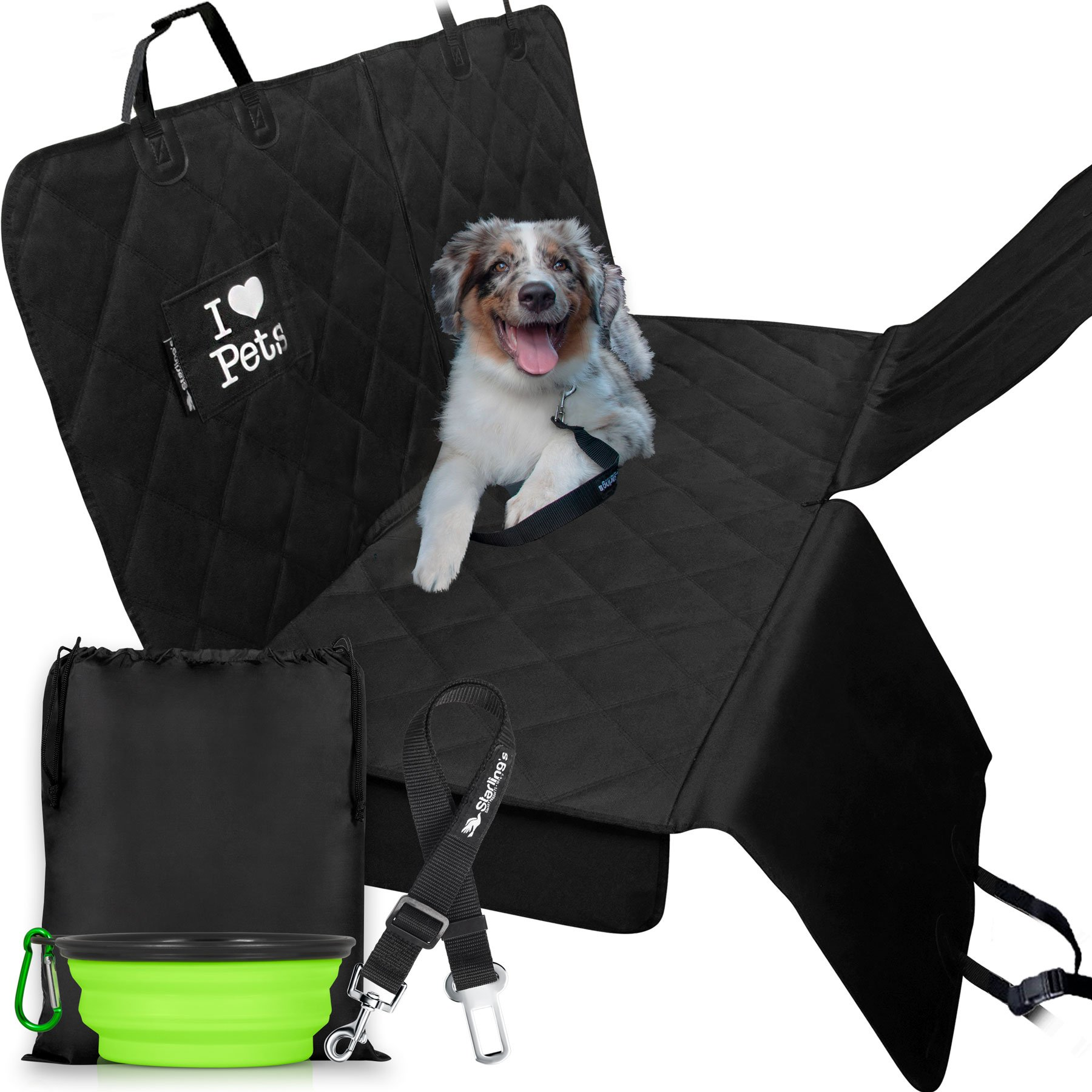 Dog Car Covers for Backseat by Starling's Hammock Style|Latest Model, Heavy Duty, Waterproof, Non-Slip & Vents for All 3 Seat Belts|Fits All Vehicles, SUV! W/Dog Bowl & Pet Seat-Belt product image