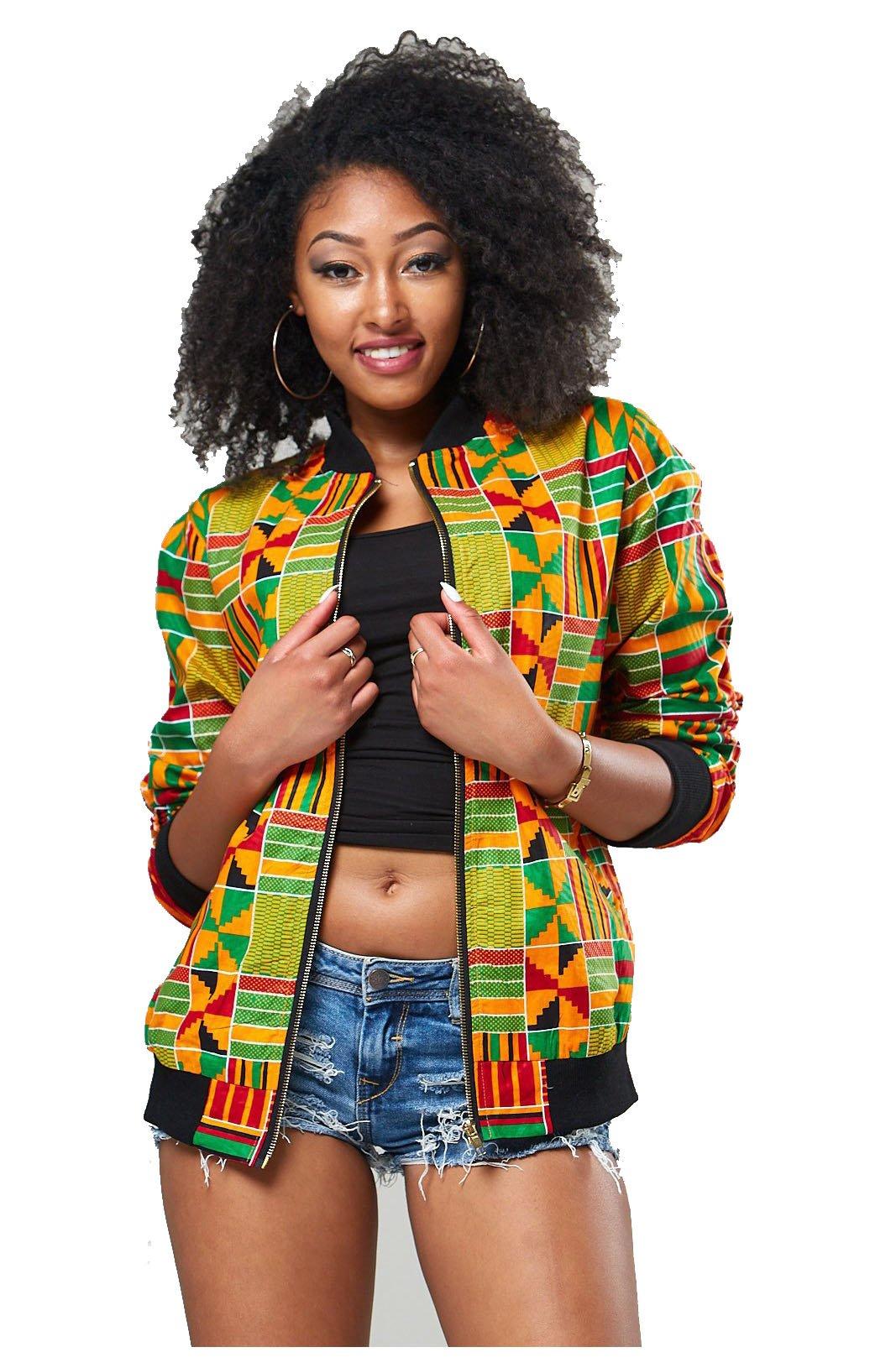 Women's Long Sleeve Vintage Traditional African Print Classic Baseball Short Biker Bomber Jacket Coat Yellow, Large